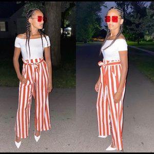 Red and white jumpsuit